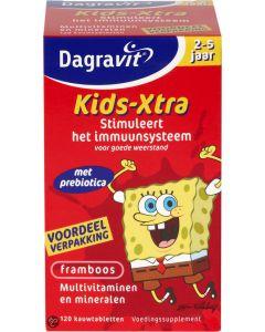Dagravit Multivit Kids xtra 2-5 jaar framboos tab